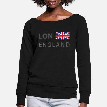 LON ENGLAND BF dark-lettered 400 dpi - Women's Wide-Neck Sweatshirt