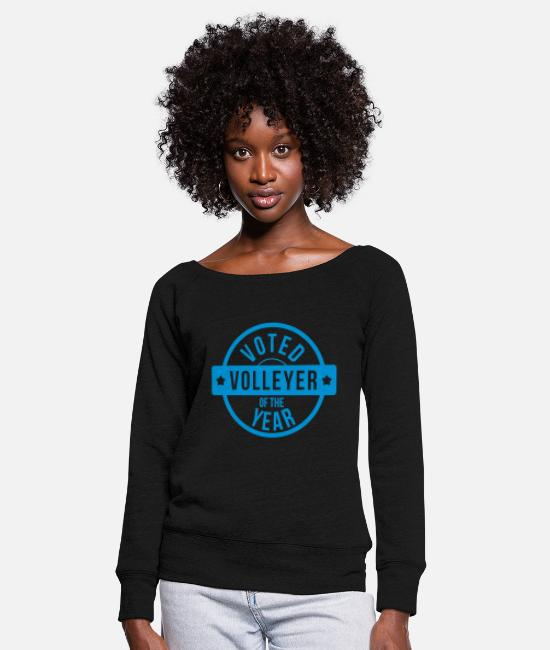 Play Long sleeve shirts - Voted Volleyer of the year - Women's Wide-Neck Sweatshirt black
