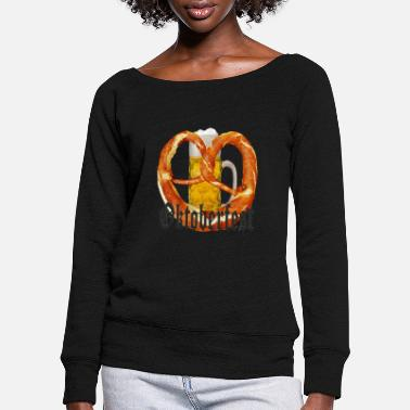 Munich Oktoberfest beer and pretzel - Women's Wide-Neck Sweatshirt