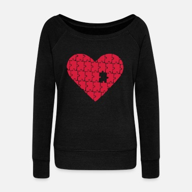 Puzzle - Heart - Love - Pull col bateau Femme