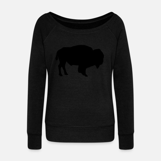 Conservation Long Sleeve Shirts - Bison - Women's Wide-Neck Sweatshirt black