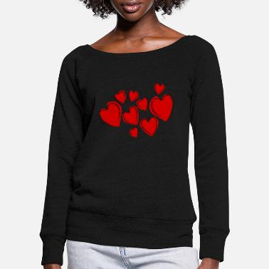 Valentines Day Heart of love - Women's Wide-Neck Sweatshirt