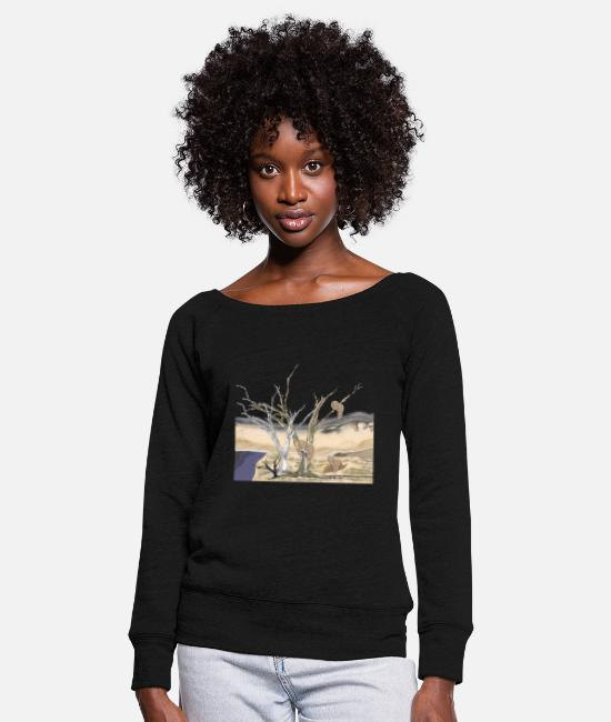 Painting Long sleeve shirts - clock - Women's Wide-Neck Sweatshirt black