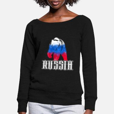 Russia Russia Russia Bear - Women's Wide-Neck Sweatshirt
