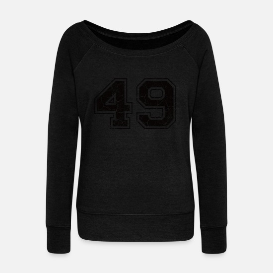 Birthday Long sleeve shirts - Number 49 in the used look - Women's Wide-Neck Sweatshirt black