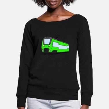 Regional Train Regional train train locomotive railroad model railway - Women's Wide-Neck Sweatshirt