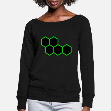 Hexagon Hexagons - Women's Wide-Neck Sweatshirt