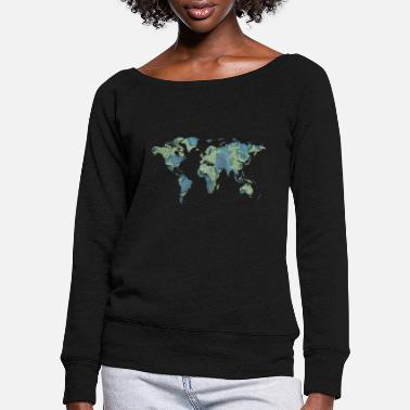 World Map map of the world world map - Women's Wide-Neck Sweatshirt