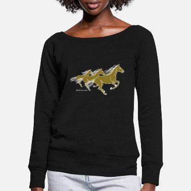 Ponytail Horses Wild Horses Riding Gold Silver horses - Women's Wide-Neck Sweatshirt