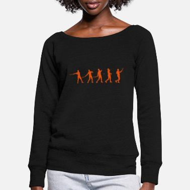 Tennis Forehand Stages - Women's Wide-Neck Sweatshirt