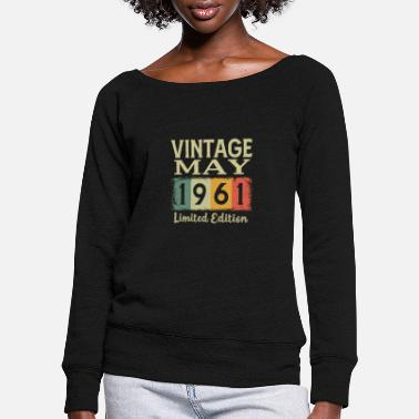 Birth Vintage Retro 55th Birthday Gift May 1966 - Women's Wide-Neck Sweatshirt