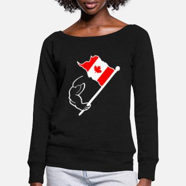 Canadian Canada flag - Women's Wide-Neck Sweatshirt