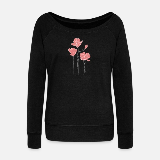 Garden Long Sleeve Shirts - Pink flowers - Women's Wide-Neck Sweatshirt black