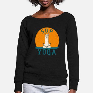 SUP Yoga funny Llama lotus gift - Women's Wide-Neck Sweatshirt
