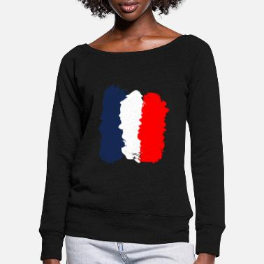 France Flag France flag - Women's Wide-Neck Sweatshirt