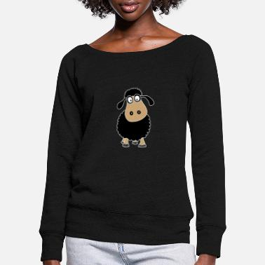 Mutton Black cute sheep - Women's Wide-Neck Sweatshirt