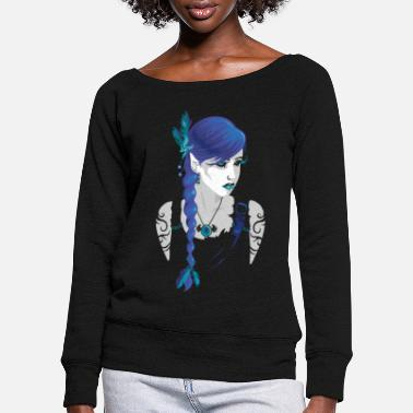 Dark Humour Dark elve - Women's Wide-Neck Sweatshirt