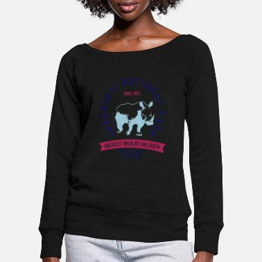 Serengeti SERENGETI NATURAL PARK - RHINO - Women's Wide-Neck Sweatshirt