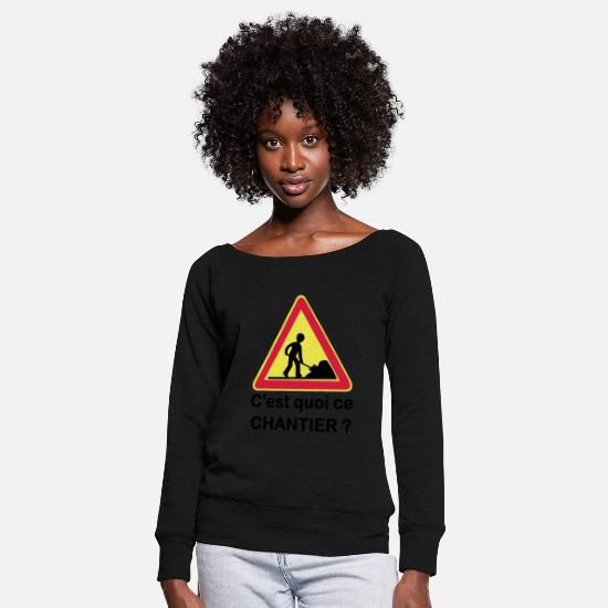 Panel Long Sleeve Shirts - What is this site? - Women's Wide-Neck Sweatshirt black