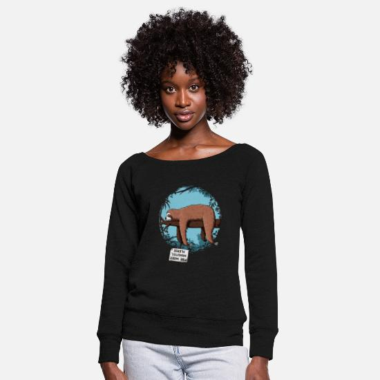 Sloth Long Sleeve Shirts - Sloth - Women's Wide-Neck Sweatshirt black