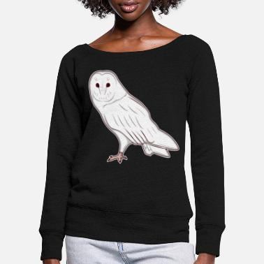 Snow White Owl Fast Owl Animal Zoo Animal Park Jungle - Women's Wide-Neck Sweatshirt