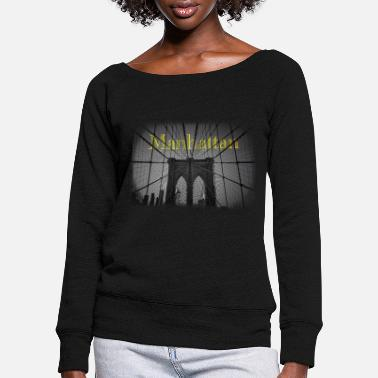 Brooklyn manhattan new york bridge brooklyn black and white - Women's Wide-Neck Sweatshirt