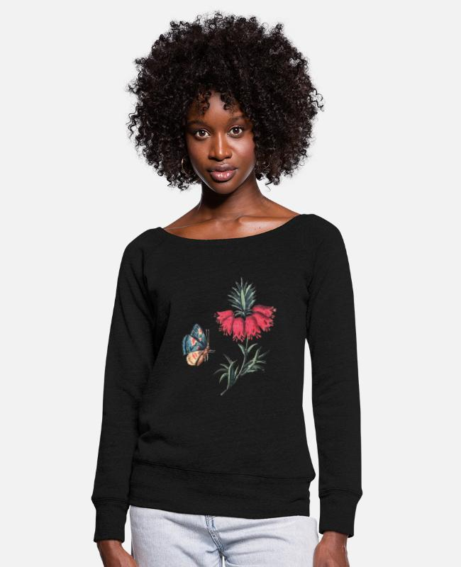 Red Long-Sleeved Shirts - Flying butterfly with flowers - Women's Wide-Neck Sweatshirt black