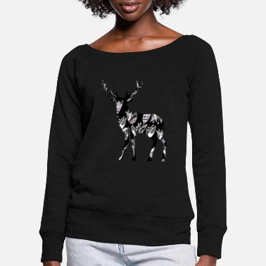 Horns Deer - Women's Wide-Neck Sweatshirt