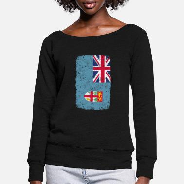 Home Country roots home country roots home Fiji - Women's Wide-Neck Sweatshirt