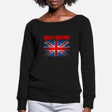 United United Kingdom Flag 008 AllroundDesigns - Women's Wide-Neck Sweatshirt