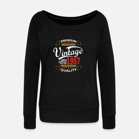 Birthday Long sleeve shirts - 1957 birthday present birthday - Women's Wide-Neck Sweatshirt black
