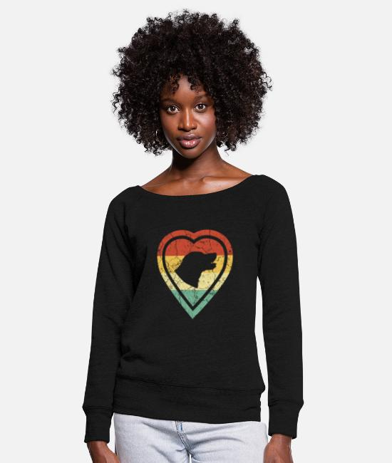 Heart Long-Sleeved Shirts - Grunge heart retro vintage retriever dog love - Women's Wide-Neck Sweatshirt black