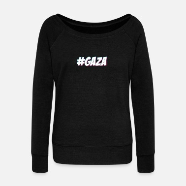 Gaza #GAZA - Women's Wide-Neck Sweatshirt