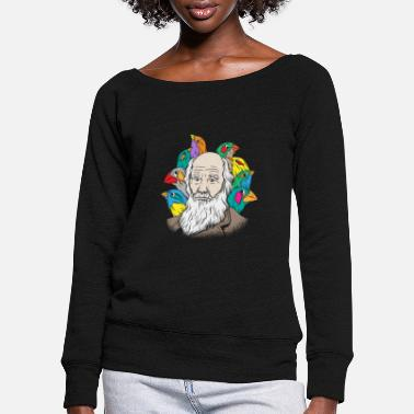 Charles Darwin Portrait Gift Evolution - Women's Wide-Neck Sweatshirt
