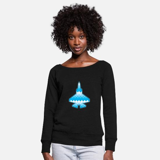 Army Long sleeve shirts - Pilot fighter jet military fighter jet - Women's Wide-Neck Sweatshirt black