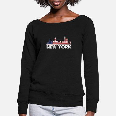 New New York American Flag Shirt, 4th of July shirts - Women's Wide-Neck Sweatshirt