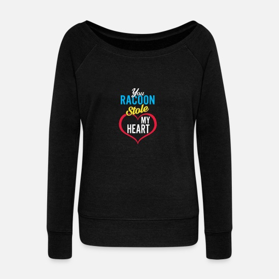Raccoon Long sleeve shirts - Raccoon Sack Steal Heart - Women's Wide-Neck Sweatshirt black