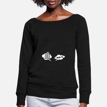Pregnant Pregnant mom twins - Women's Wide-Neck Sweatshirt