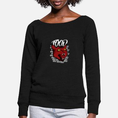 Ruddy Angry Hungry Red Cat Food Face Craving Hipster - Women's Wide-Neck Sweatshirt