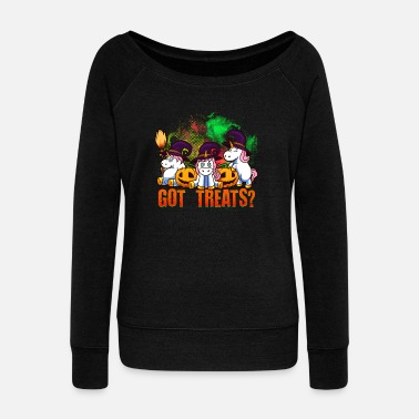Got Treats I Cute Unicorn Witches Pumpkin Halloween - Sweatshirt med ubåds-udskæring dame
