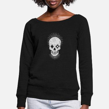 Video Gamer skull stylish gaming - Women's Wide-Neck Sweatshirt
