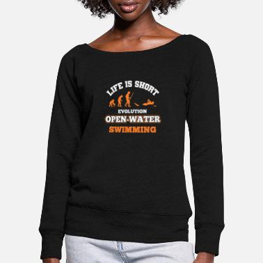 Open Swimmer swimming - Women's Wide-Neck Sweatshirt