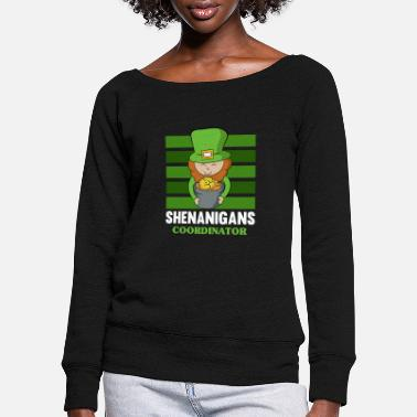 Irish Boys St Patrick's Day Shenanigans Coordinator Cute - Women's Wide-Neck Sweatshirt