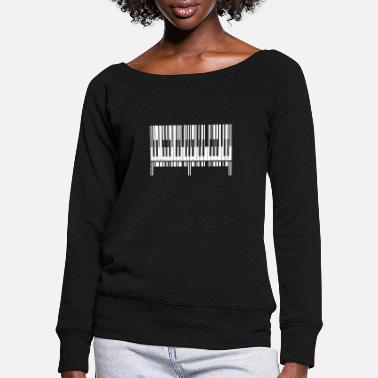 Keyboard Piano Piano Barcode Keyboard Music - Women's Wide-Neck Sweatshirt