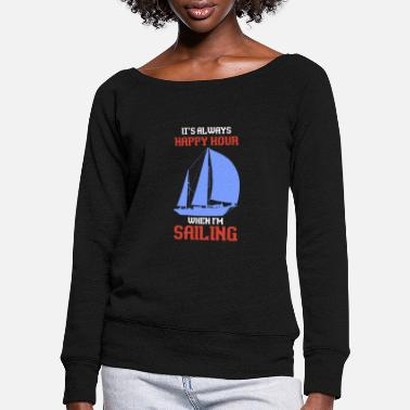 Sailboat sailing - Women's Wide-Neck Sweatshirt