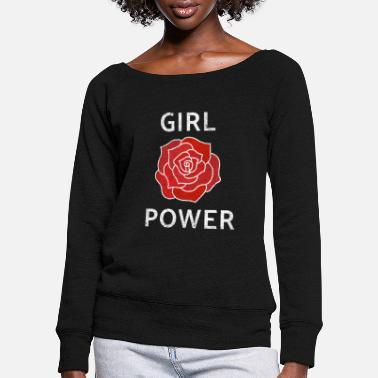 Rose Girl PowerStrong Independent Woman English Rose Re - Women's Wide-Neck Sweatshirt