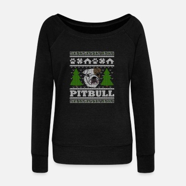 Ugly Christmas Pit Bull Christmas Ugly Shirt - Women's Wide-Neck Sweatshirt