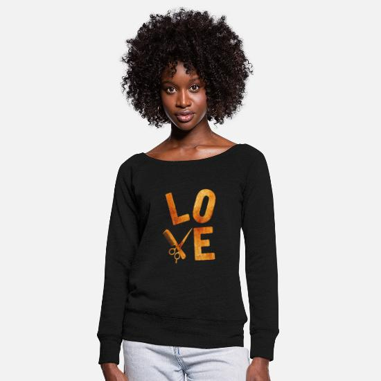 Gift Idea Long sleeve shirts - hair stylist - Women's Wide-Neck Sweatshirt black