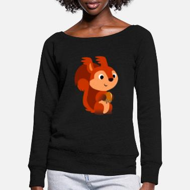 Cheerful Madness Cute Cartoon Red Squirrel by Cheerful Madness!! - Women's Wide-Neck Sweatshirt