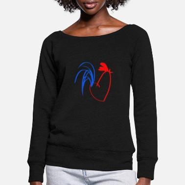 White rooster blue white red - Women's Wide-Neck Sweatshirt